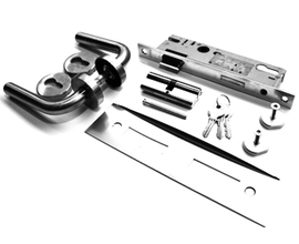 COMPLETE DOORSET USA [PIVOTS, HANDLE, LOCK, LOCKPLATE, CYLINDER]